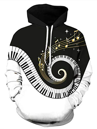 Belovecol Mens Womens 3D Digital Piano Music Print Pullover Hoodies Fashion Novelty Hooded Sweatshirt for Casual Sports Party M