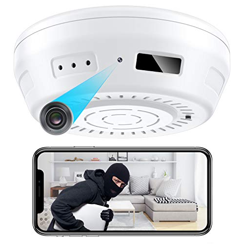 Hidden Camera Smoke Detector WiFi - Nanny Cams Wireless with Cell Phone App - 180 Days Battery Power, Night Vision, Motion Detection, Sideways Lens - Smart for Indoor Security