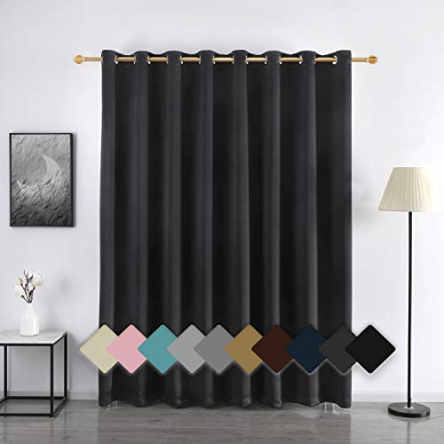 YURIHOME Room Darkening Wide Blackout Curtain, Insulated Curtains Drapes with Grommet for Sliding Glass Door for Home/Office/Bedroom/Living Room,100W x 84L inches,Dark Grey,1 Panel