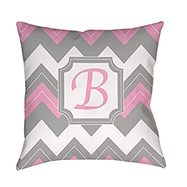 Manual Woodworkers & Weavers Square Indoor/Outdoor Pillow, 16-Inch, Monogrammed Letter B, Pink Chevron