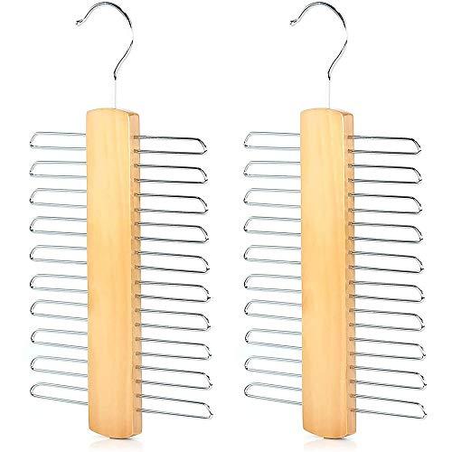 2 Stück Organizer Aufbewahrung für Krawatten, Krawattenhalter Holz, 360°drehbarer Haken, für Gürtel, Schal, Krawatte Aufbewahrung