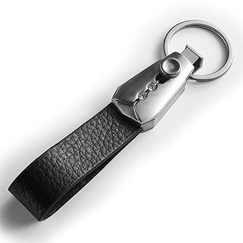 Afairy Keychain de Cuero de Servicio de Cuero Llavero de Metal Llavero Llavero Llavero Llavero para Hombres Mujeres (Color : Black)