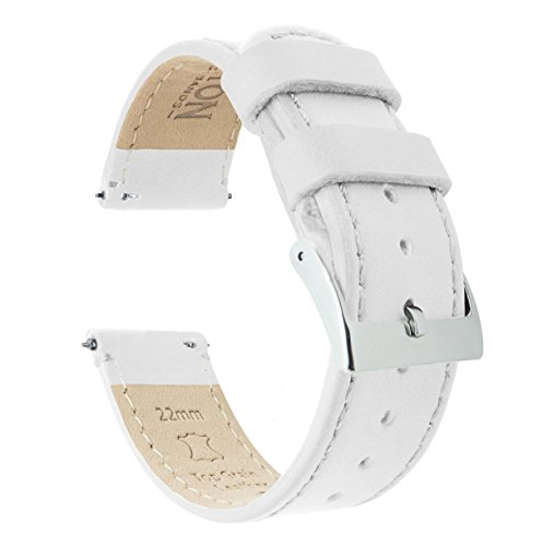 18mm White BARTON Quick Release Top Grain Leather Watch Band Strap