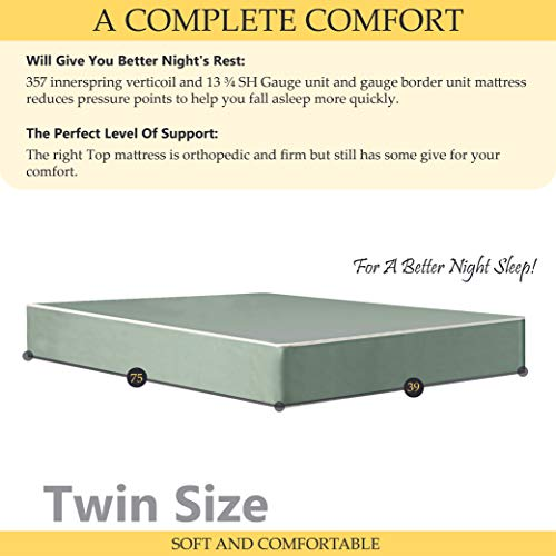 Mattress Solution   8-Inch Firm Double sided Tight top Waterproof Vinyl Innerspring Fully Assembled Mattress, Good For The Back, Twin