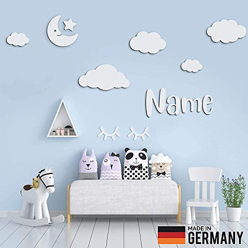 5er Set Wolken Holz mit Mond, Stern und Individueller Text/Name | 3D Effekt | Kinderzimmer Deko | Kinderzimmer Wanddeko selbstaufklebend (M, Weiß)