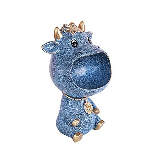KLFD Multiusos Boca Grande Vaca Decoración Llavero Bandeja De Joyería Bandeja De Almacenamiento De Escritorio Escultura Misceláneas Contenedor De Almacenamiento Decoración del Hogar,Azul