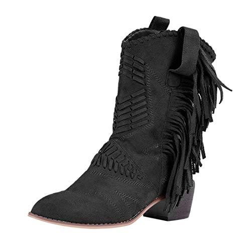 Loozykit Cowboy Stiefel Damen mit Absatz Flandell Komfortable Rutschfest Retro Schuhe Warme Stiefeletten mit Fransen Casual Short Ankle Boots Schneestiefel Herbst Winter