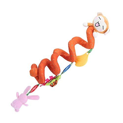 Juguete colgante para cochecito de bebé, sonajero de felpa en espiral para bebés resistente al agarre de látex, para entrenamiento de emociones, entrenamiento de visión