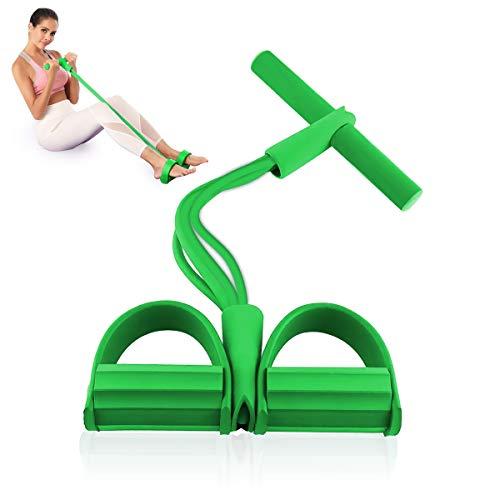 Ledeak Cuerda de Tensión, Expansor de Culturismo Multifunción 4 Tubos, Elástico Pedal de pie Banda de Entrenamiento, para Gimnasio en Casa Yoga Deportes Pilates (Green)