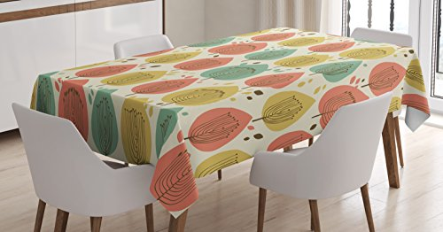 "Lunarable Tree Tablecloth, Scandinavian Style Floral Pattern in Pale Palette Abstract Fall Tree, Rectangular Table Cover for Dining Room Kitchen Decor, 52"" X 70"", Green Coral"