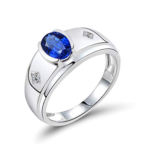 KnSam 18K White Gold Rings for Mens, Oval Cut Blue Sapphire 1.5ct VS and 0.12ct Diamond Silver Ring Size U 1/2