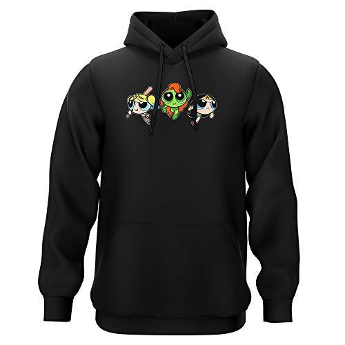 Sweat-shirt à Capuche Noir parodie Super Nanas - Comics Heroines - Bulle, Belle, Rebelle en mode Harley Quinn, Poison Ivy et Wonderwoman - Les Super Girls ! (Sweatshirt de qualité premium de taille