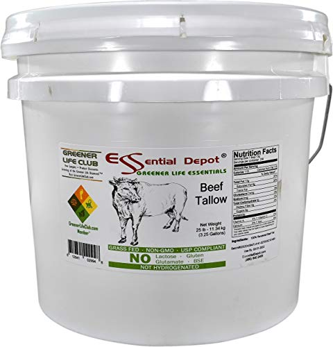 Beef Tallow - GRASS FED - Non-GMO - Not Hydrogenated - UPS Compliant - Free from Lactose-Gluten-Glutamate-BSE - 25 lbs in a 3.5 Gallon HDPE microwaveable pail with resealable lid and removable handle