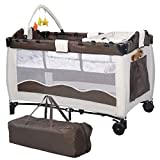 <span class='highlight'>COSTWAY</span> Portable Infant Baby Travel Cot, <span class='highlight'>Bed</span> Play Pen, Child Bassinet Playpen Entryway, <span class='highlight'>with</span> Mat 2 in 1 (Coffee)