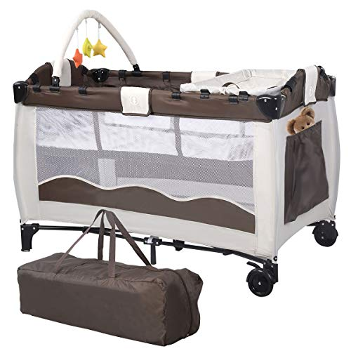 COSTWAY Portable Infant Baby Travel Cot, Bed Play Pen, Child Bassinet Playpen Entryway, with Mat 2 in 1 (Coffee)