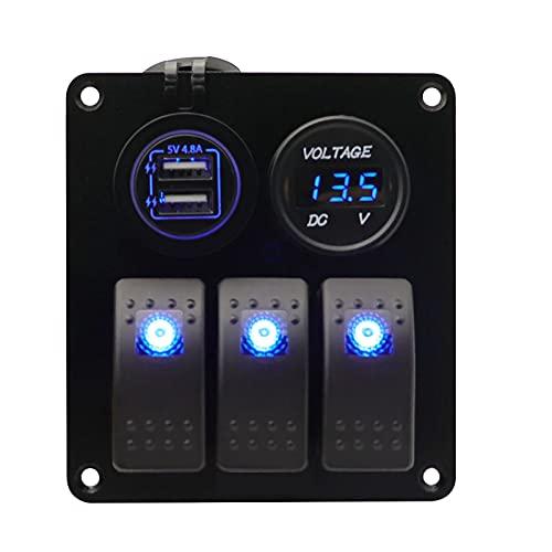 AIHOUSE Panel De Interruptores Basculantes De Aluminio De 3 Unidades - 12V 24V Panel De Interruptores De Encendido Y Apagado con Doble Toma Cargador USB Voltímetro Digital LED para Barcos RV,Azul