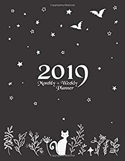 "2019 Weekly + Monthly Planner: 8.5"" x 11"" Witchcraft Cat Bats Flora and Stars"