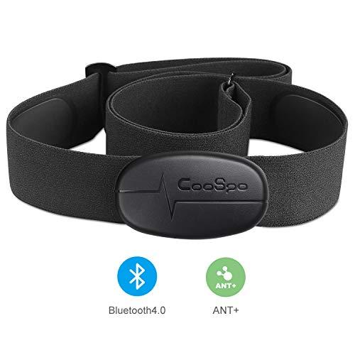 CooSpo Banda de Frecuencia Cardiaca Bluetooth 4.0 Ant+ Monitor Sensor de Frecuencia Cardíaca Compatible con Garmin Wahoo Zwift Endomodo y Otros