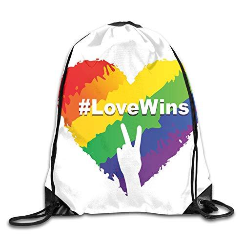 Illustration Of Colorful Heart In Lgbt Colors Love Wins Hashtag Valentines Drawstring Backpack Rucksack Shoulder Bags Gym Bag Sport Bag