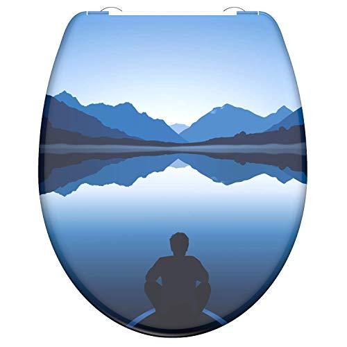 instmaier WC-Sitz WC1 // Duroplast Toilettendeckel mit Absenkautomatik // Schnelle Reinigung durch Schnellverschluss // Klodeckel // Einfache Montage // Motiv Bergsee blau