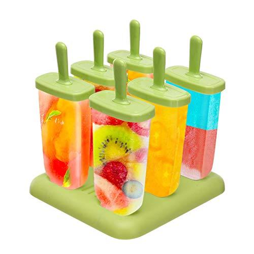 Foho Stampi per Gelato, Stampi ghiaccioli Stampi per Gelati 6 Produttori di Ghiaccioli, FDA e BPA Gratis, Ideale per la Preparazione di ghiaccioli, Gelati, sorbetti (Verde)