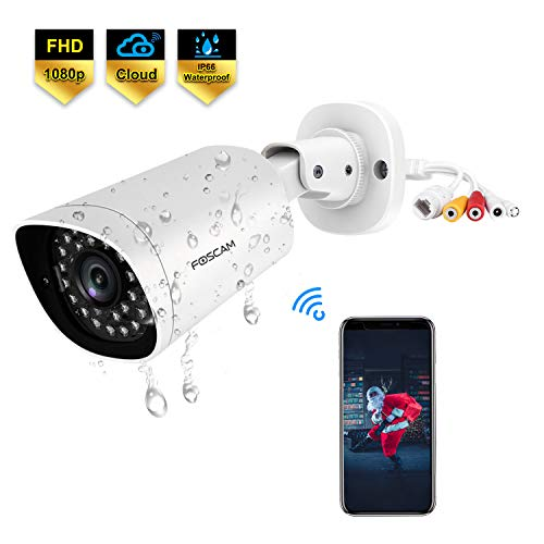 Foscam QJ2 Outdoor Bullet Security Camera, 1080P POE IP Camera, 66ft Night Vision Surveillance Camera with AI Human Detection, IP66 Weatherproof, Cloud Service,Supports Alexa (White)
