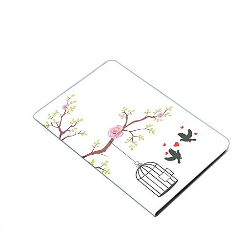 iPad Air 10.5' (3rd Gen) 2019 / iPad Pro 10.5' 2017 Smart Case Cover - Blossomed Roses and Flying Love Birds with Hearts and Cage Couple Decorative Ultra Slim Lightweight Stand Case with PU Leather St