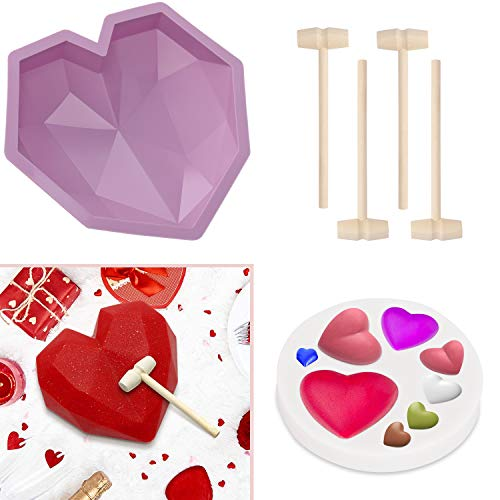 Diamond Heart Molds for Chocolate with 4 Hammers, LACE INN Geometric Heart Mold with Mini Heart Decoration Mold, Silicone Mold for Home Kitchen DIY Baking Valentine's Day Cake(Purple)