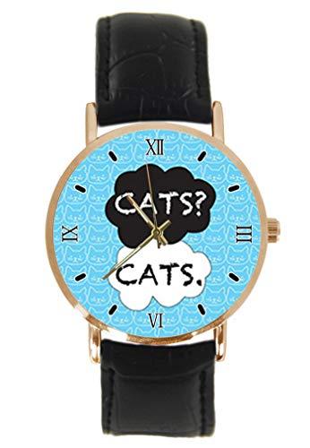 Generic Armbanduhr mit Katzen-Motiv, Unisex, analog, Quarz, Edelstahlgehäuse, Lederarmband