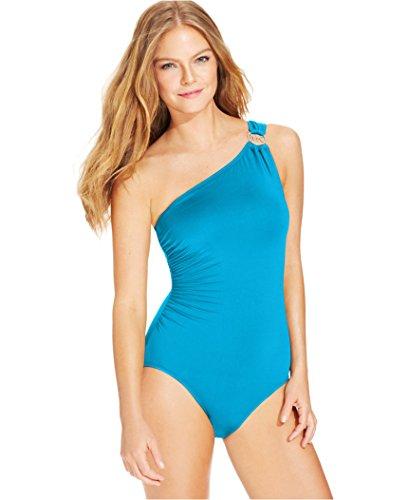 Michael Michael Kors Women's One-Shoulder Hardware One-Piece Swimsuit (6, Santorini)