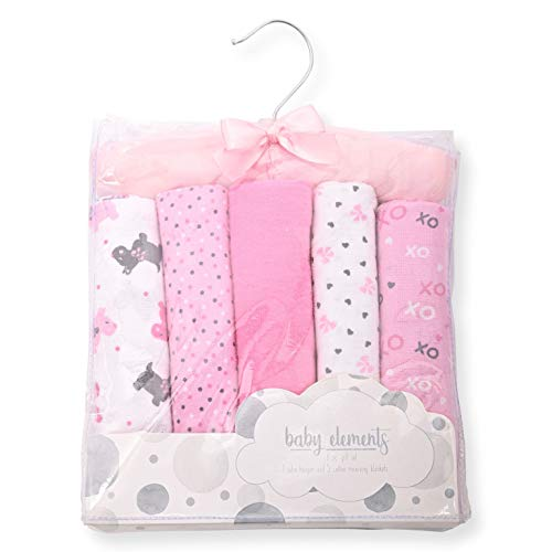 """Warm & Cozy 5-Pack Baby Receiving Blankets - 100% Flannel Cotton - 26"""" x 26"""" (XOXO)"""