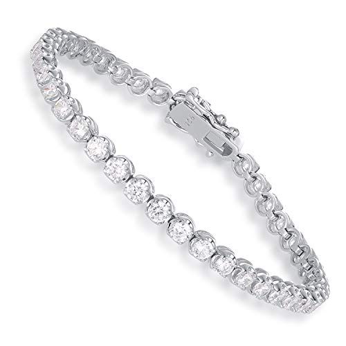 SHKA 925 Sterling Silver plated Tennis bracelet Princess Round Cut Brilliant White 3mm CZ Crystals, 18K White Gold Plated Tennis Bracelets with Cubic Zirconia Stones