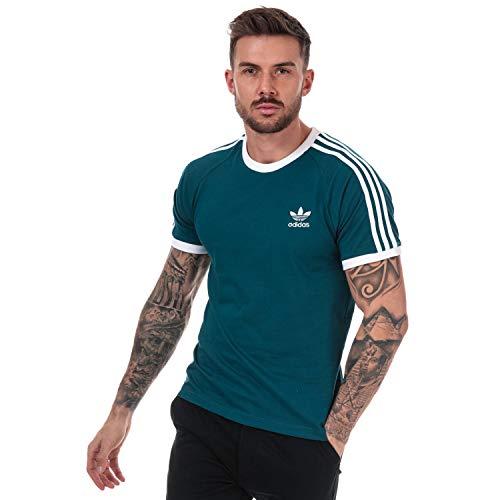 Adidas Originals Herren-T-Shirt, 3-Streifen, Crew Neck Gr. L, grün