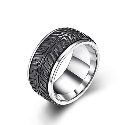 Patrón de neumáticos de coche de acero inoxidable para hombre anillo de punk rock regalo de la joyería 9 negro