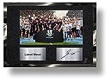 Exclusivo marco de firma Lionel Messi Supercopa cromado metálico coleccionable