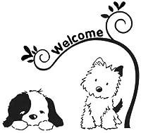 かわいい犬ビニールカーアートステッカーデカールブラック/ Silver15CM * 14.1CM2pcs、ホワイト-15CM * 14.1CMようこそ Rebirtha (Color : Black, Size : 15CM*14.1CM)