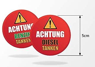 Think Ink - 5 Pegatinas de Advertencia para Gasolina/diésel, para Tapas de depósitos, Coches, Camiones, máquinas, vehículos alquilados con protección UV