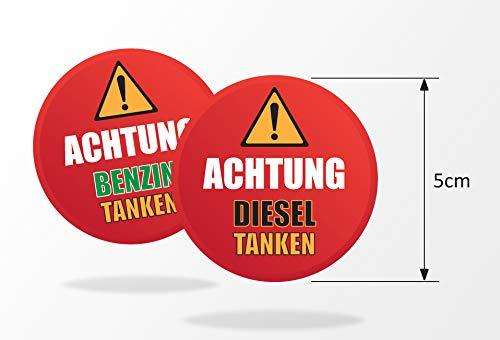 Think Ink Juego de 5 pegatinas de advertencia con protección UV (gasolina/diésel) para tapas de depósito, coches, camiones, furgonetas, vehículos de alquiler con protección UV (gasolina).