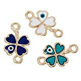 Image of 10 Pack, Four Leaf Clover Evil Eye Connectors Findings, Gold Tone and Enamel - 1/2 Inch Wide