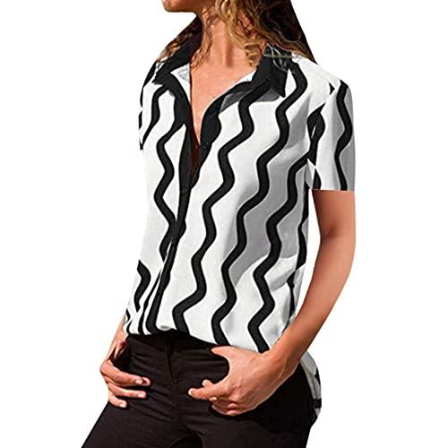 Blusas a Rayas con Botones y Botones Sueltos a Rayas con Cuello en V para Mujer Tops Blusa Tipo túnica Camisas a Cuadros de Mangas Casuales a Rayas Blusas con Botones y Mangas con puños Camisa