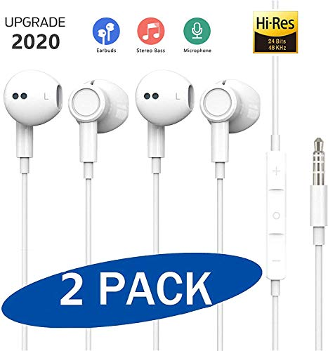 (2 Pack) In-Ear Kopfhörer 3,5 mm Stecker Stereo Sound Kopfhörer, Geräuschdämmende Ohrhörer Kopfhörer Stereo und HiFi-Klang, für iPhone, iPad, Smartphone, MP3 Players usw