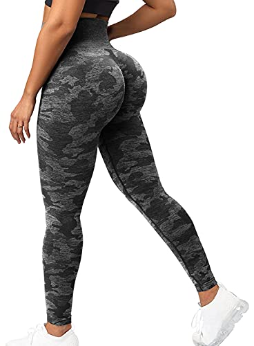 CFR Women High Waist Yoga Pants Butt Lifting Camo Workout Seamless Leggings #0 Black L