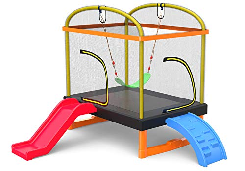LANGXUN 6.5 Ft 4-in-1 Rectangle Trampoline for Kids, with Climb, Slide, Swing, Multi-Functional Indoor Outdoor Toddler Mini Trampoline for Girls and Boys Gift, Age 1-8