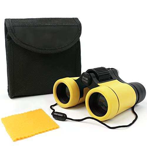 Scotamalone Prismáticos de juguete para niños, compactos a prueba de golpes, los mejores regalos para niños y niñas (amarillo)