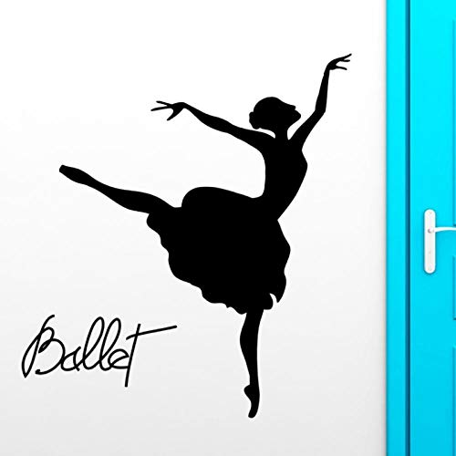 WANGHH Pegatinas de pared de bailarina de ballet, calcomanía de vinilo de pasión de teatro de baile 56x88cm