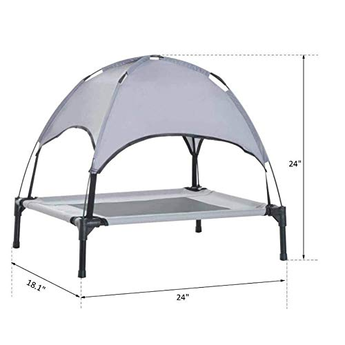 Dog Cot Bed with Shade Canopy,Dog Bed Canopy,Dog Kennel with Canopy, Raised Pet Bed, Moveable, Waterproof, Outdoor, Raised Pet Camping Basket, Lightweight (Color : S)