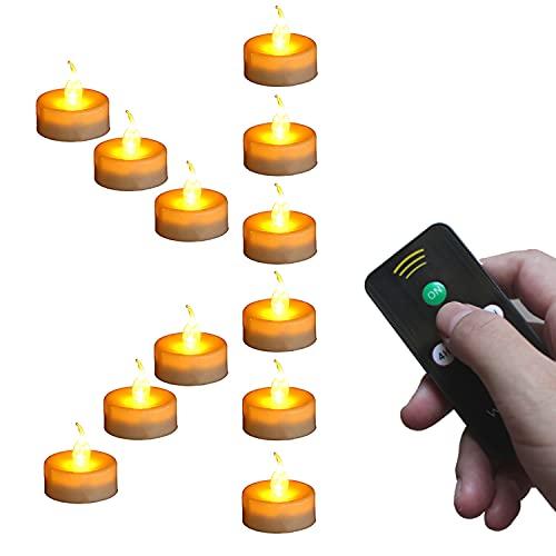 Wilrigir Flammenlose Teelichter mit Timer und Fernbedienung, LED-Teelichter, elektrische Fake Kerze mit hell und flackernd gelb Glühbirne, 12 Stück, Best für Partys, Home Decor und Festivals Feiern