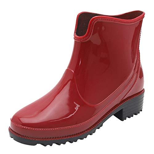 YWLINK Botas De Lluvia Mujer,NiñA Estilo Punk Antideslizantes Zapatos De Agua De Goma para Exteriores Moda Casual Simple TamañO Grande Zapatillas De Deporte Tubo Corto(Rojo,39EU)