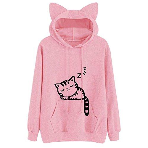 Xmiral Hoodie Pullover Damen Herbst Winter Mädchen Cat Drucken Kapuzenpullover Sweatshirt Casual Langarm Top (XXL,Rosa)