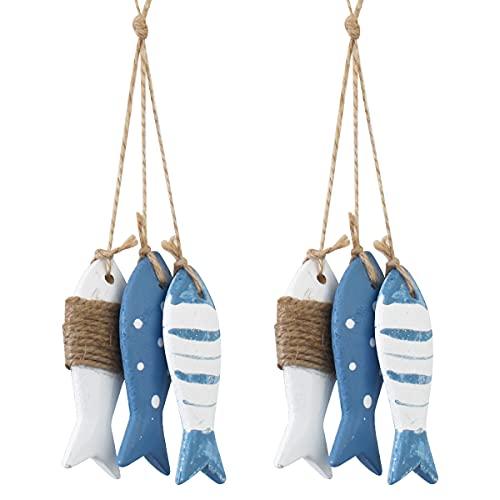 Peces Decorativos de Madera,RoadLoo Adornos de Decoración Peces Estilo Mediterráneo Colgante Pez de Madera Wooden Fish Regalo Náutico Decoración para Colgar Pared Tienda Bar Familiar Playa Náutica (2)